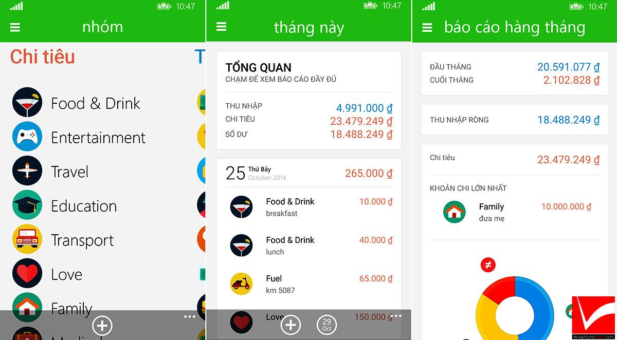 App quản lý thu chi giúp việc ghi chép lại các khoản chi nhanh chóng và tiện lợi nhất